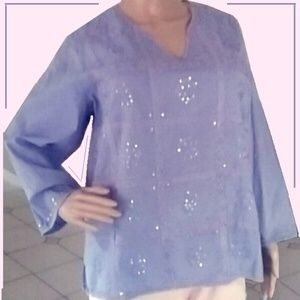 Periwinkle Indian Cotton Tunic NWOT